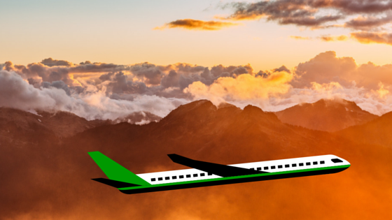 green plane flying