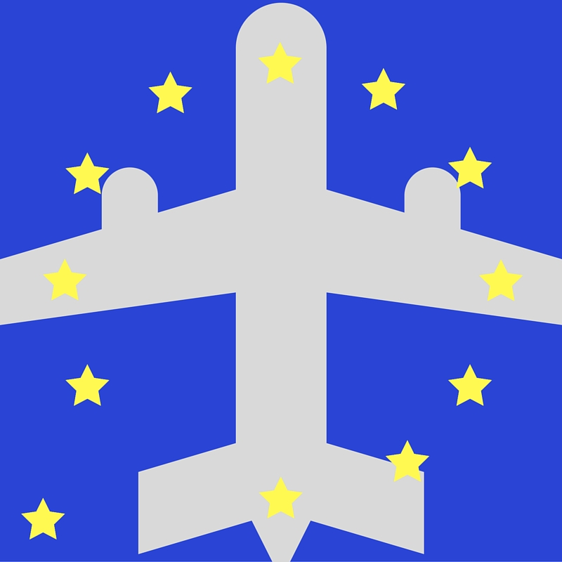 EU flag with stars over airplane